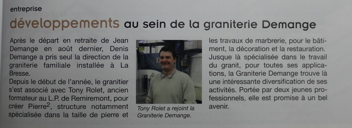 Article sur la graniterie DEMANGE - Pierre²