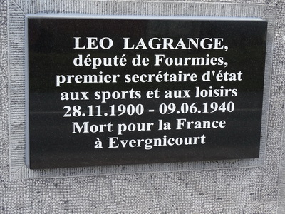 Stele Léo LAGRANGE - EVERGNICOURT